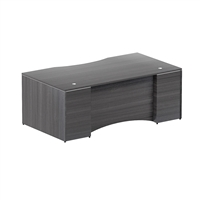 Bow front desk shell - Curved laminate modesty panel