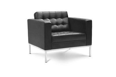 Piazza - Black Leather Lounge Chair