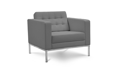 Piazza - Grey Leather Lounge Chair