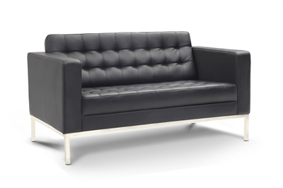 Piazza - Black Leather Love Seat