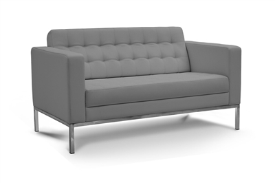 Piazza - Grey Leather Love Seat