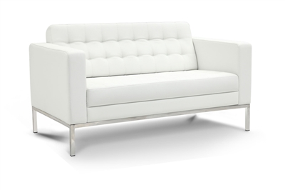 Piazza - White Leather Love Seat