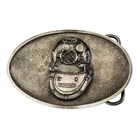 U.S. Navy Mark V Diving Helmet Belt Buckle - Pewter