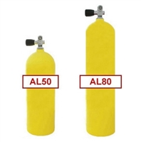 Yellow Commercial Diving Bailout Bottle Aluminum Tank