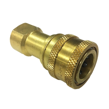"Eaton Hansen B2-H16SL ISO-B Interchange Hydraulic 2-Way 1/4"" FNPT Female Brass Quick Disconnect Fitting"