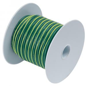Ancor Green w/Yellow Stripe 10 AWG Tinned Copper Wire - 25' [109302]
