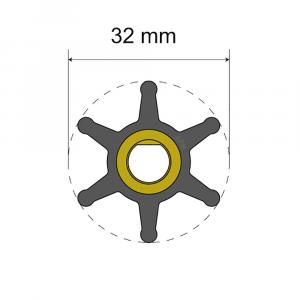 Albin Pump Premium Impeller Kit - 32 x 8 x 12mm - 6 Blade - Single Flat Insert [06-01-001]