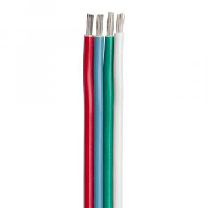 Ancor Flat Ribbon Bonded RGB Cable 18/4 AWG - Red, Light Blue, Green  White - 100 [160010]