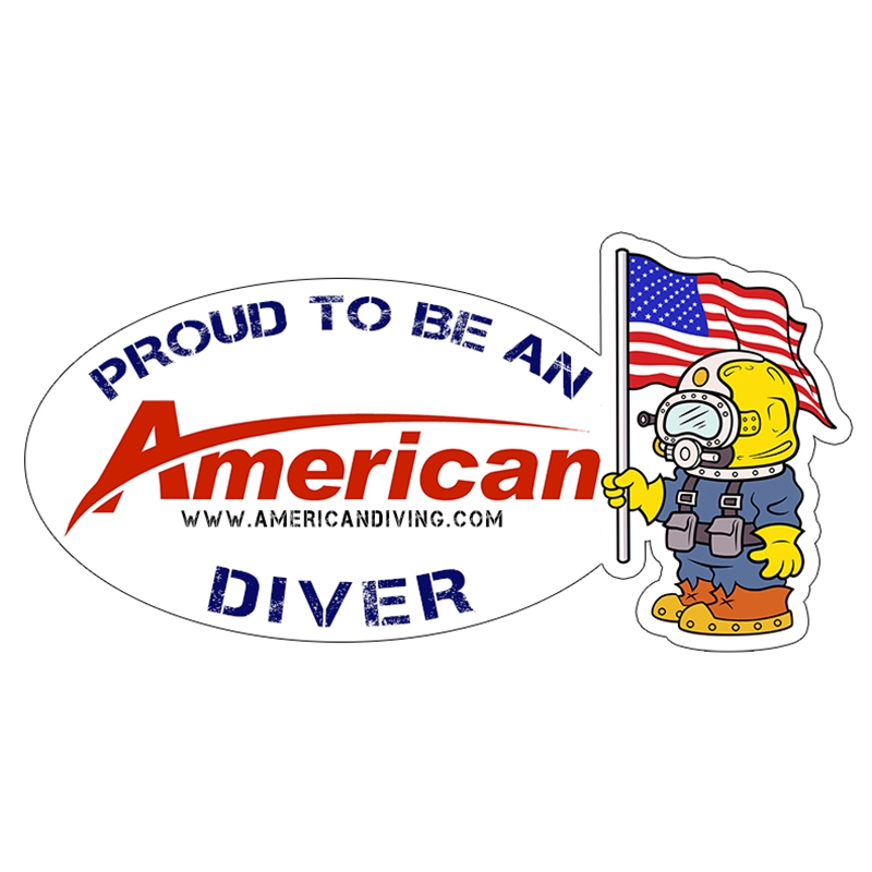 Proud to be an american diver patriot die cut sticker