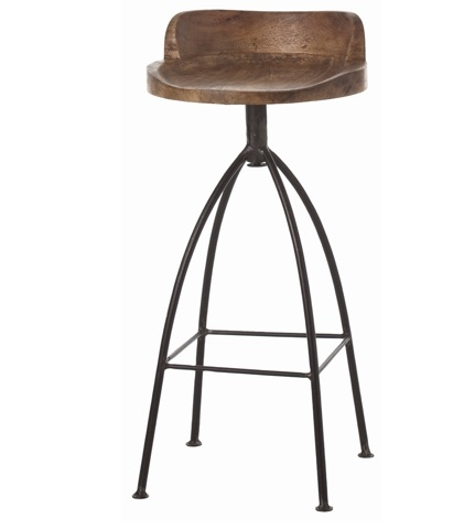 Arteriors Hinkley Wood/Iron Swivel Bar Stool