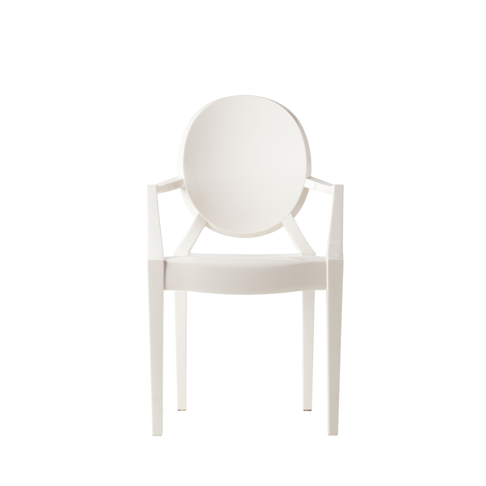 Delicieux Ghost Arm Chair In White