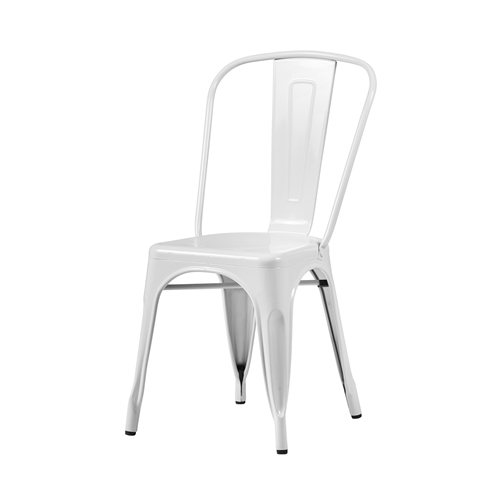 Bastille Side Chair in White Galvanized Steel