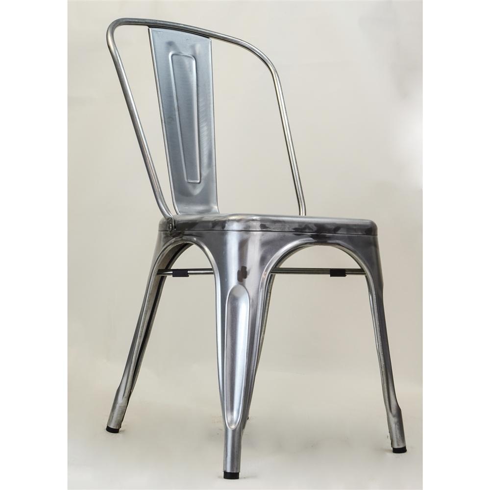 Bastille Side Chair In Gun Metal Galvanized Steel