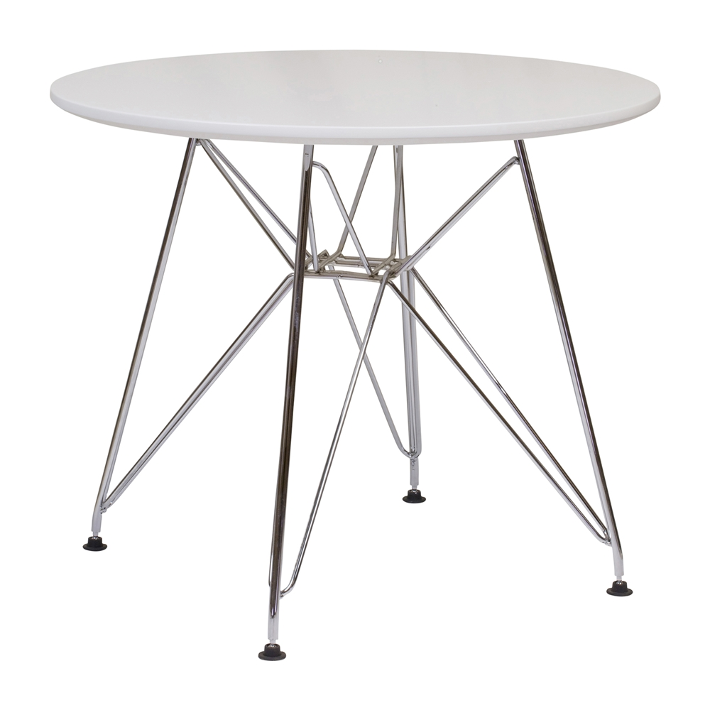 Beau Mid Century Side Table With Stainless Steel Eiffel Base