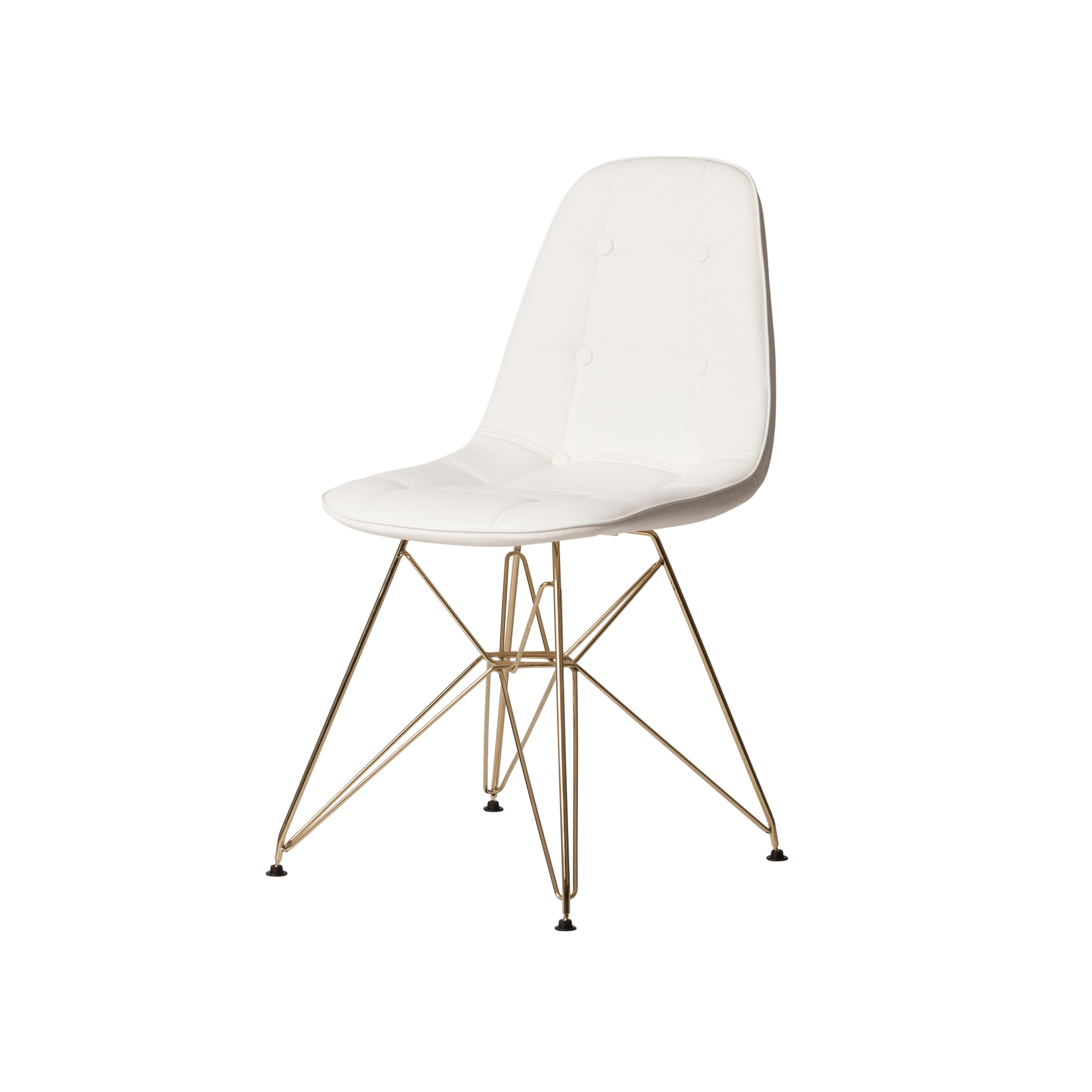 Strange Dsr Style White Leather Side Chair With Gold Legs Uwap Interior Chair Design Uwaporg
