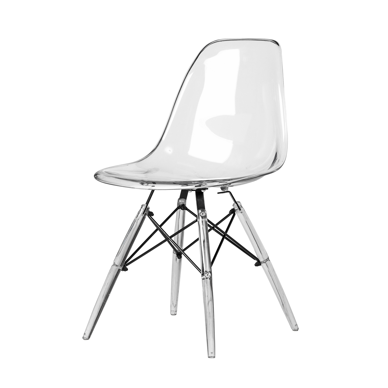 Charles Eames DSW Style Side Chair   Clear Seat And Legs