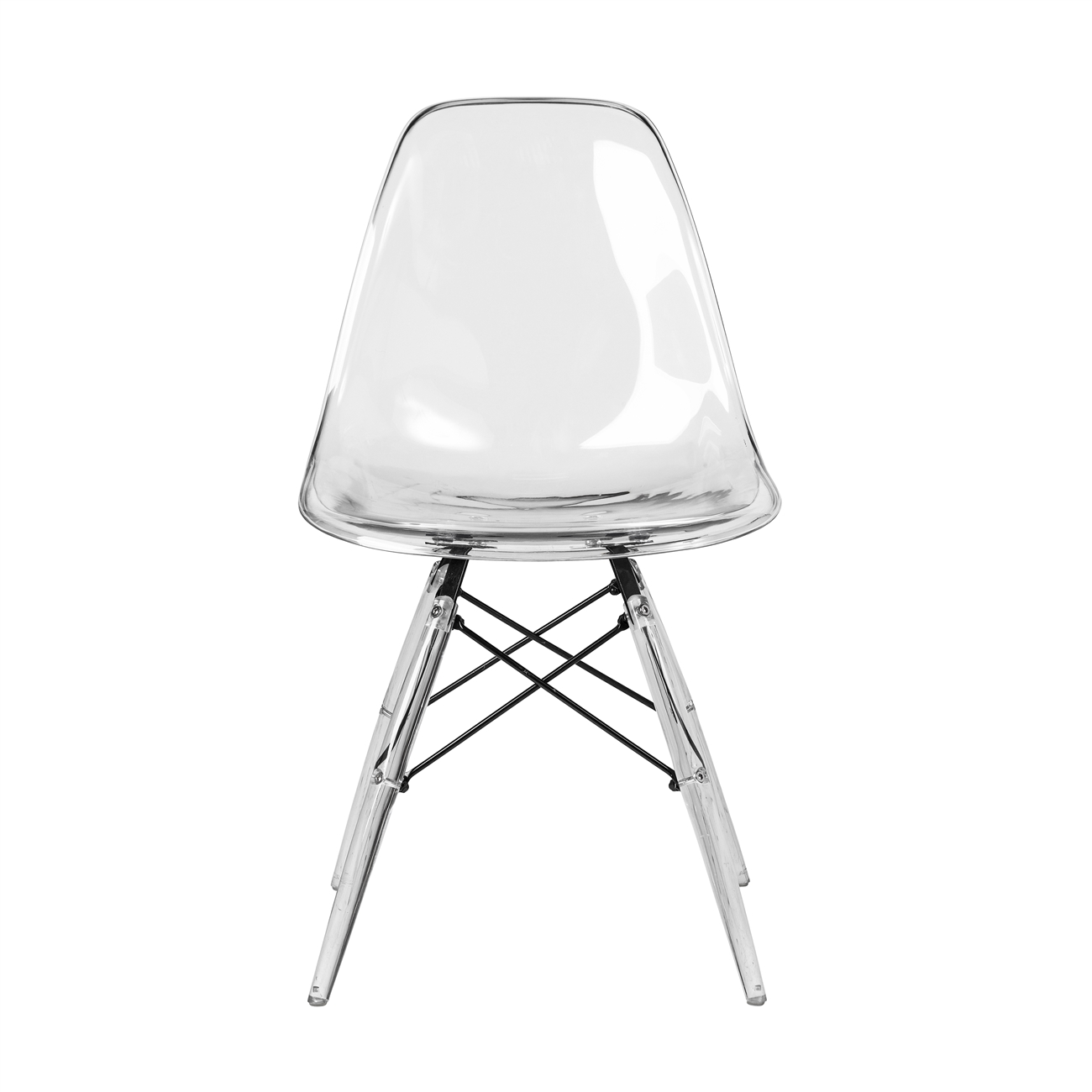 Bon Charles Eames DSW Style Side Chair   Clear ...