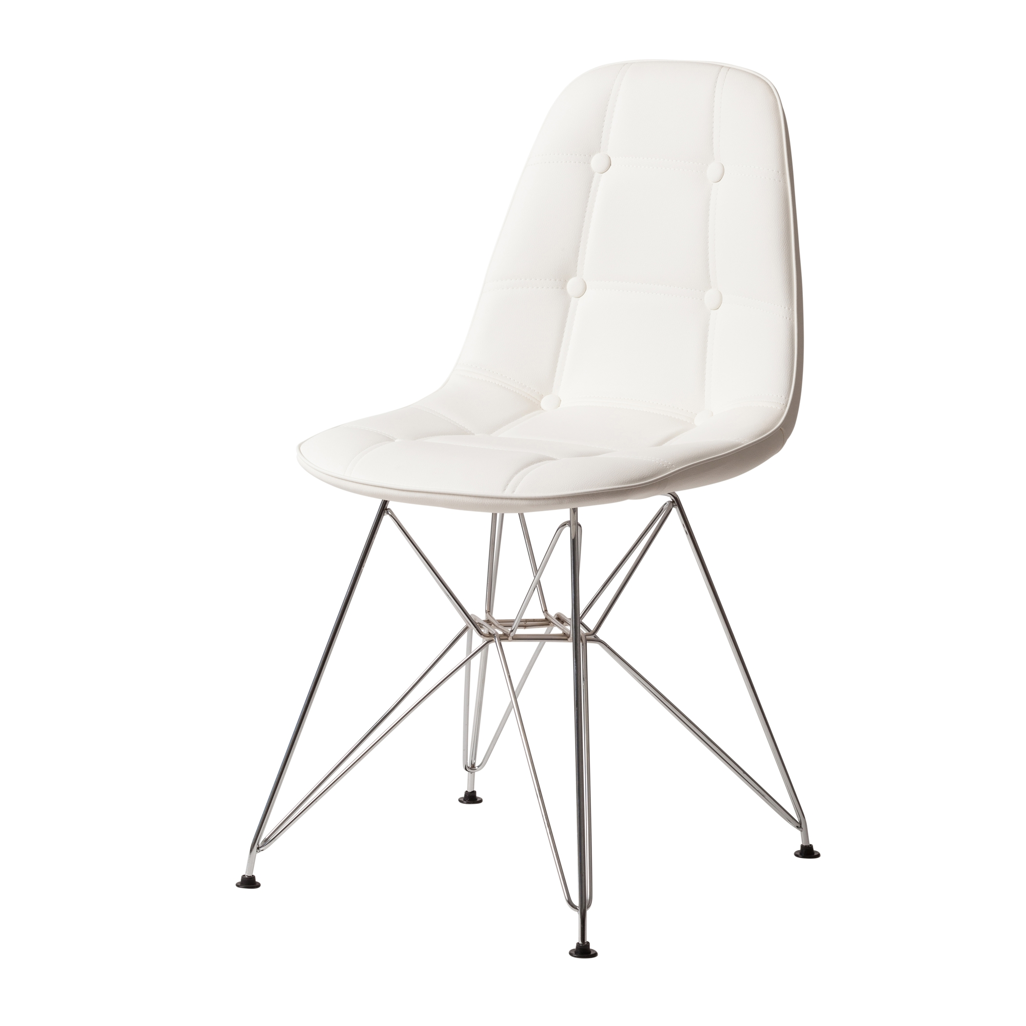 Admirable Dsr Style White Leather Side Chair With Chrome Legs Machost Co Dining Chair Design Ideas Machostcouk