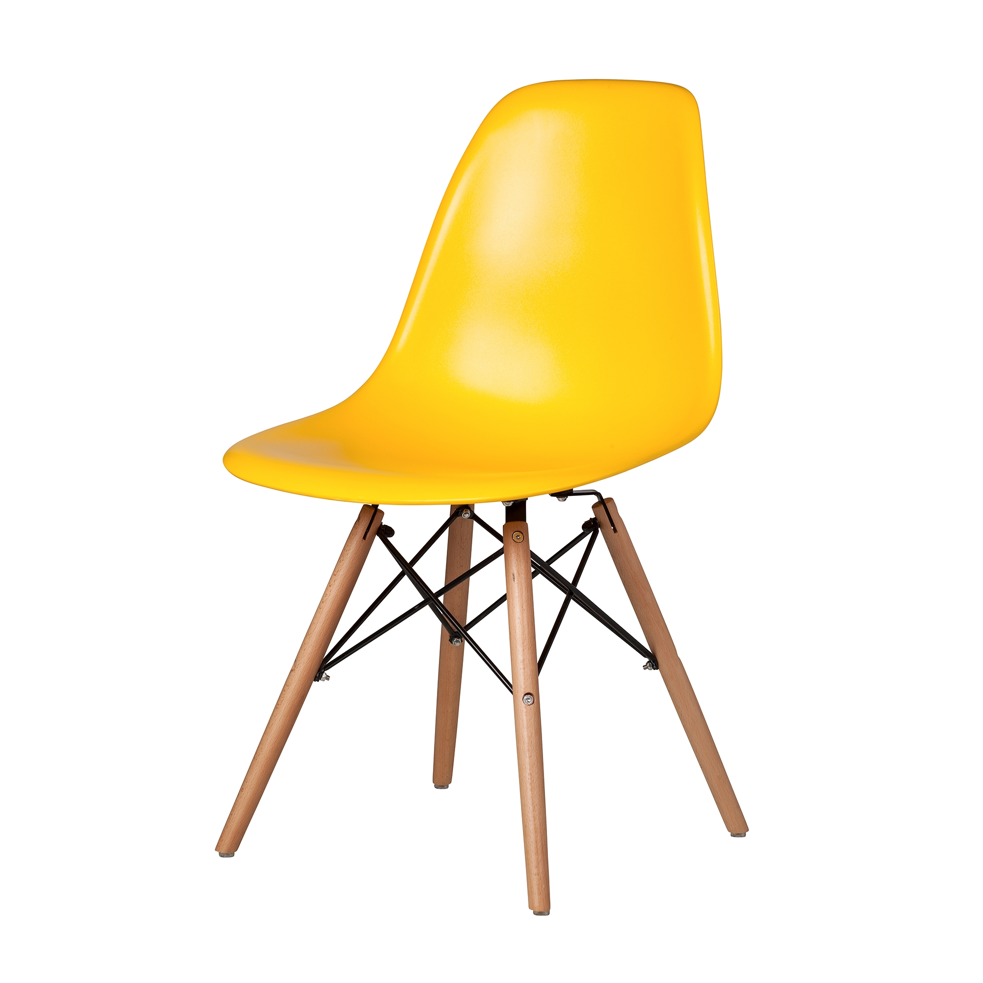 Eames Style Chair In Yellow With Dowel Legs The Khazana Home