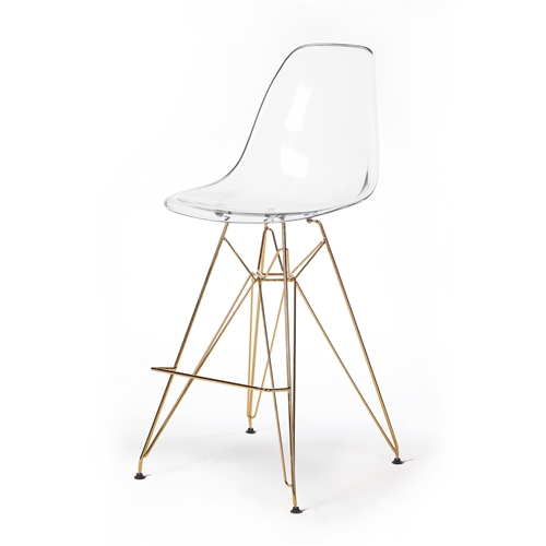 Molded Acrylic Counter Stool in Clear and Gold Finish Legs