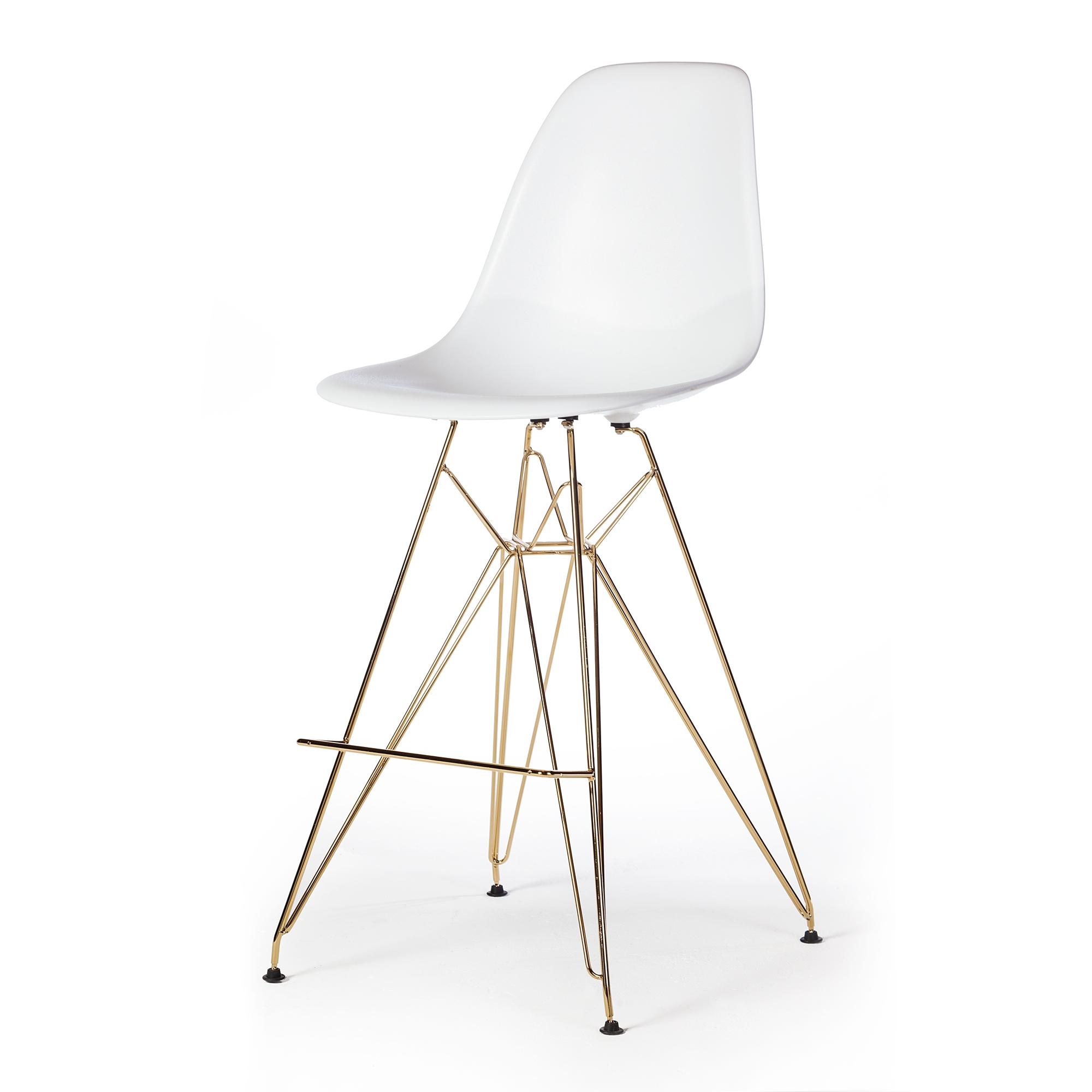 Magnificent Molded Acrylic Counter Stool In White And Gold Finish Legs The Khazana Home Austin Furniture Store Inzonedesignstudio Interior Chair Design Inzonedesignstudiocom