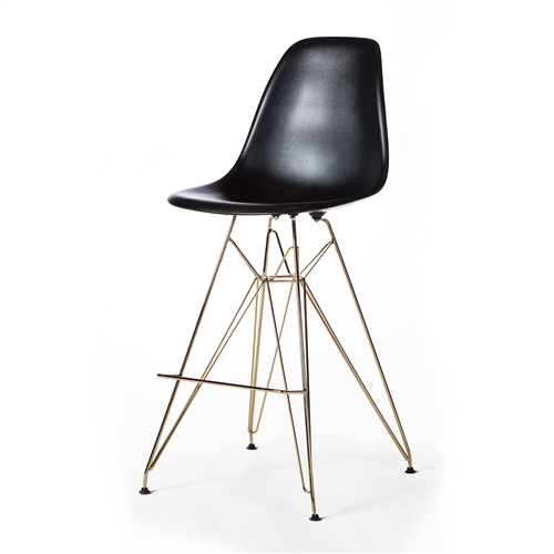 Molded Acrylic Counter Stool in Black and Gold Finish Legs
