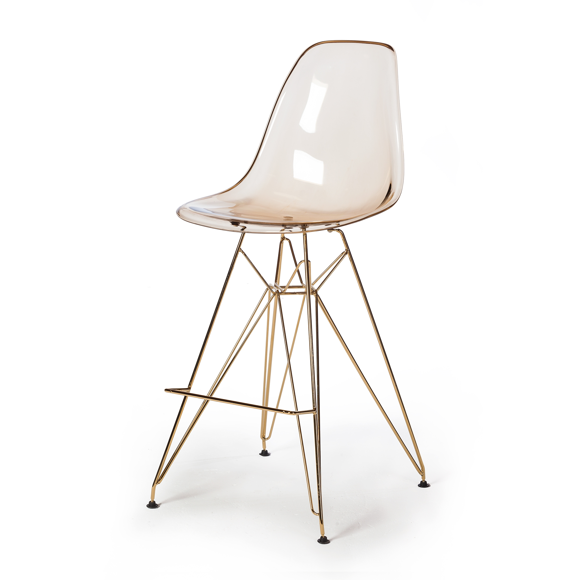 Molded acrylic counter stool in translucent amber and gold finish legs