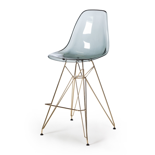 Molded Acrylic Counter Stool in Smoke and Gold Finish Legs
