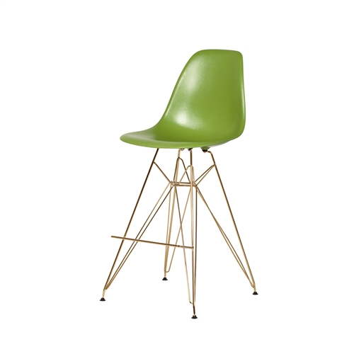 Molded Acrylic Counter Stool Gold Finish Legs - Lime Green