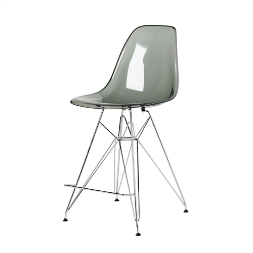 Molded Acrylic Counter Stool in Translucent Smoke and chrome Finish Legs