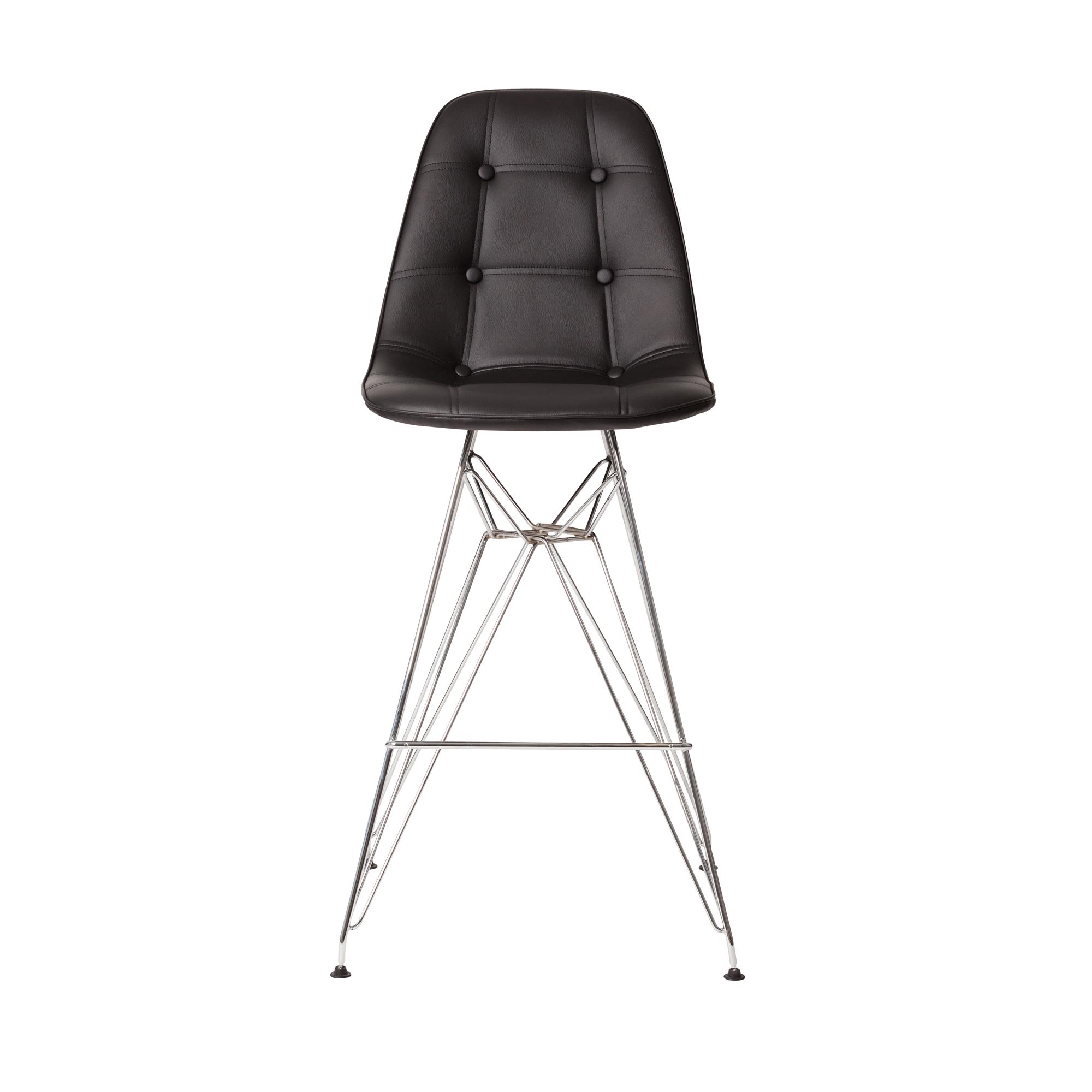 Pleasing Chrome Counter Stool In Black Leather Lamtechconsult Wood Chair Design Ideas Lamtechconsultcom