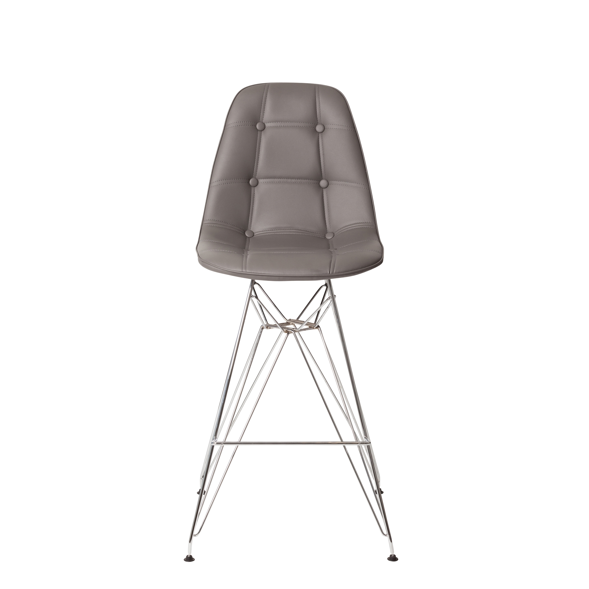 Sensational Chrome Counter Stool In Grey Leather Caraccident5 Cool Chair Designs And Ideas Caraccident5Info