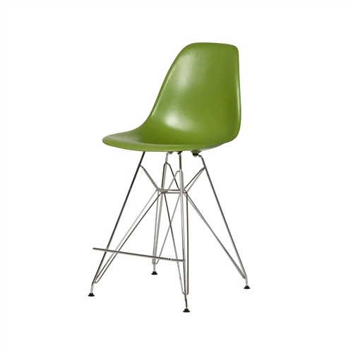 Molded Mid-Century Acrylic Counter Stool - Lime Green