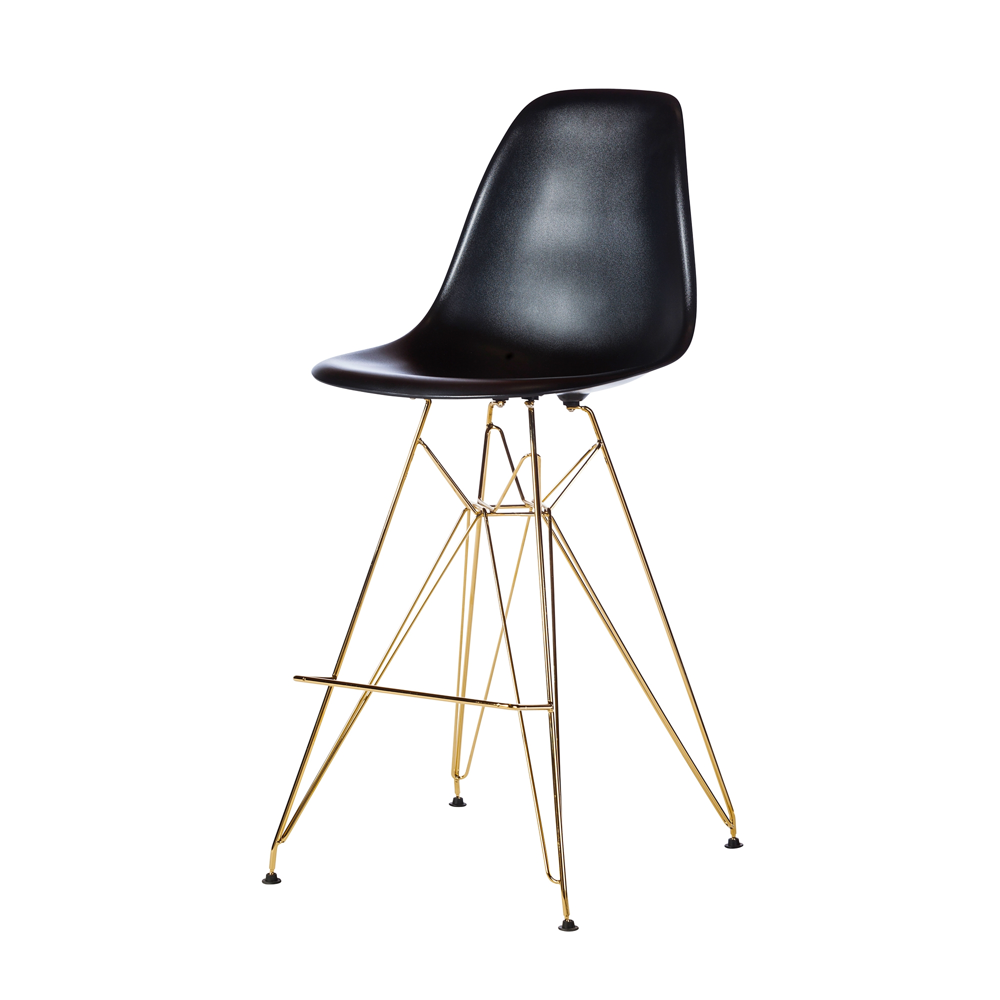 Molded Acrylic Bar Stool In Black And Gold Finish Legs The Khazana