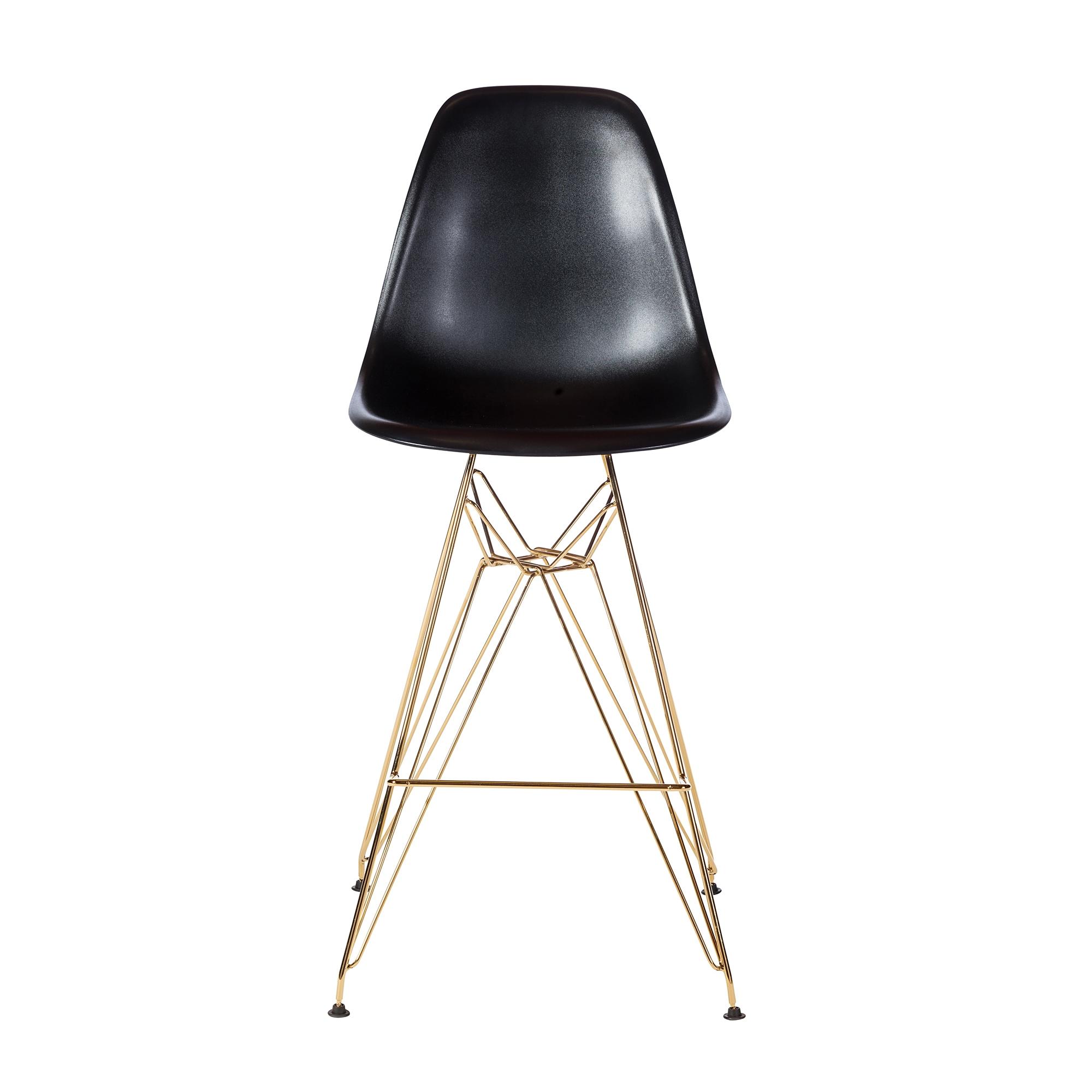 Excellent Molded Acrylic Bar Stool In Black And Gold Finish Legs Customarchery Wood Chair Design Ideas Customarcherynet