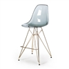 Molded Acrylic Bar  Stool in Smoke and Gold Finish Legs