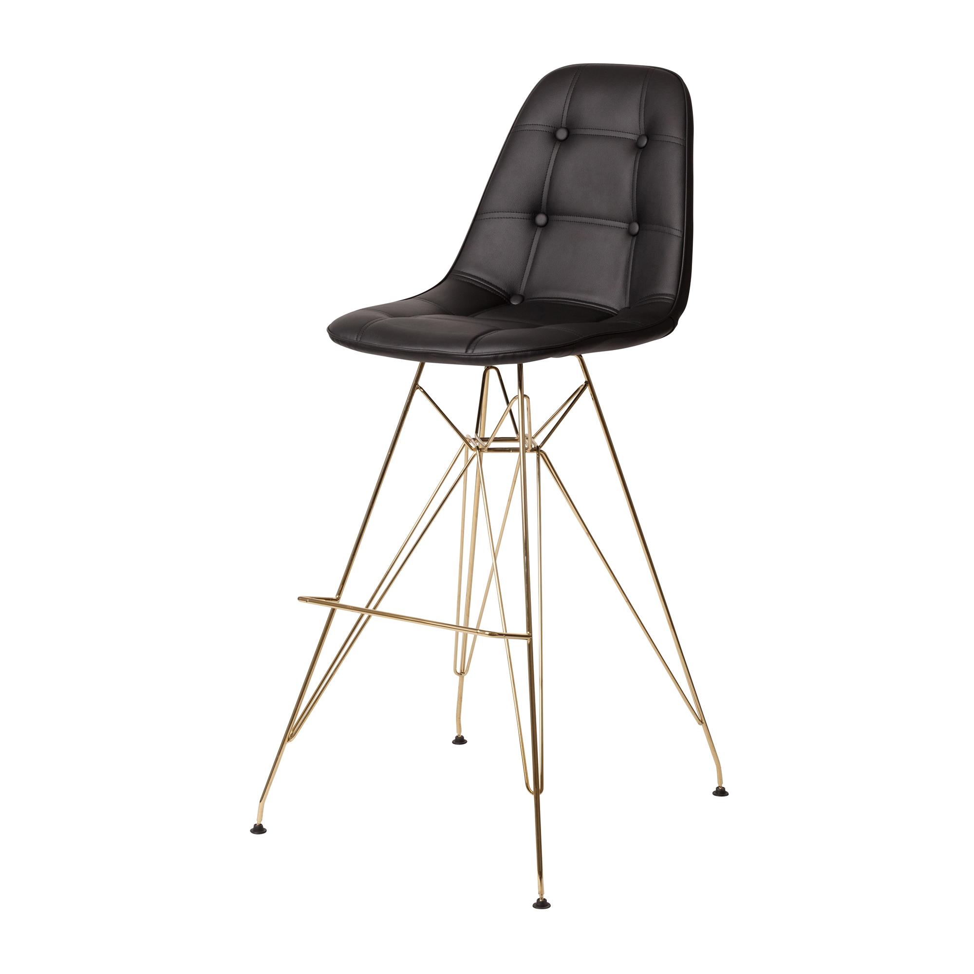 Superb Gold Finish Bar Stool In Black Leather Uwap Interior Chair Design Uwaporg