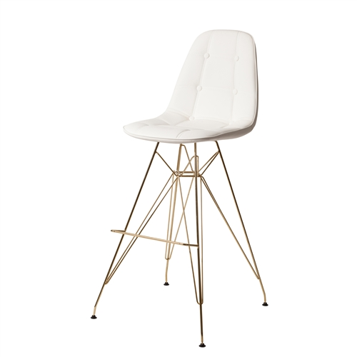 Molded Acrylic Bar Stool in Clear and Gold Finish Legs