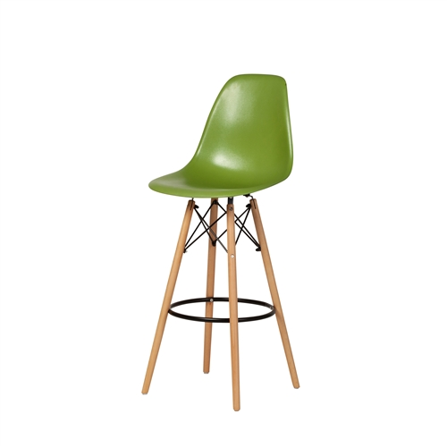 Molded Mid-Century Bar Stool - Lime Green