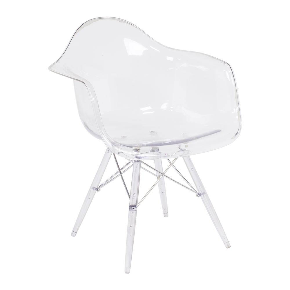 Charles Eames DAW Style Arm Chair   Clear Seat And Legs