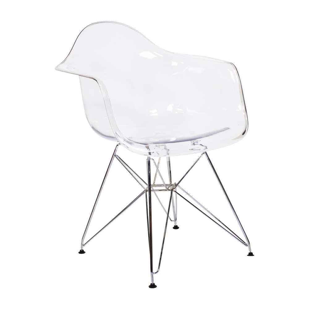 Charles Eames Style DAR Arm Chair Clear ABS Plastic