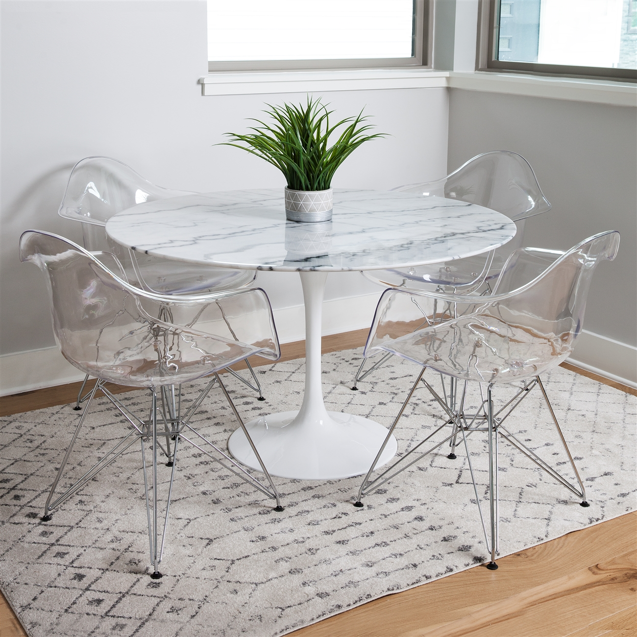 Charles Eames Style DAR Arm Chair, Clear ABS Plastic
