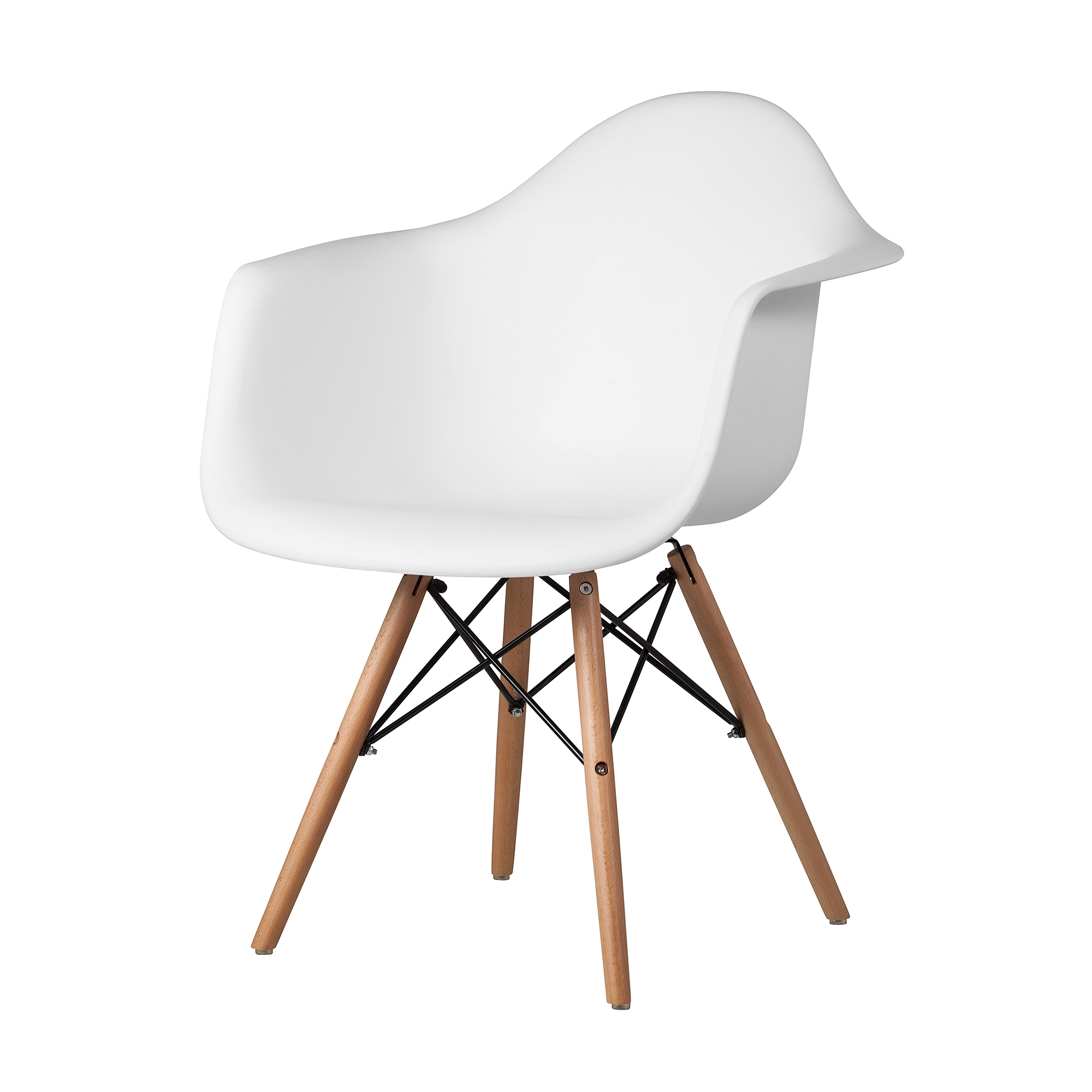 Molded Mid Century Arm Chair White Abs