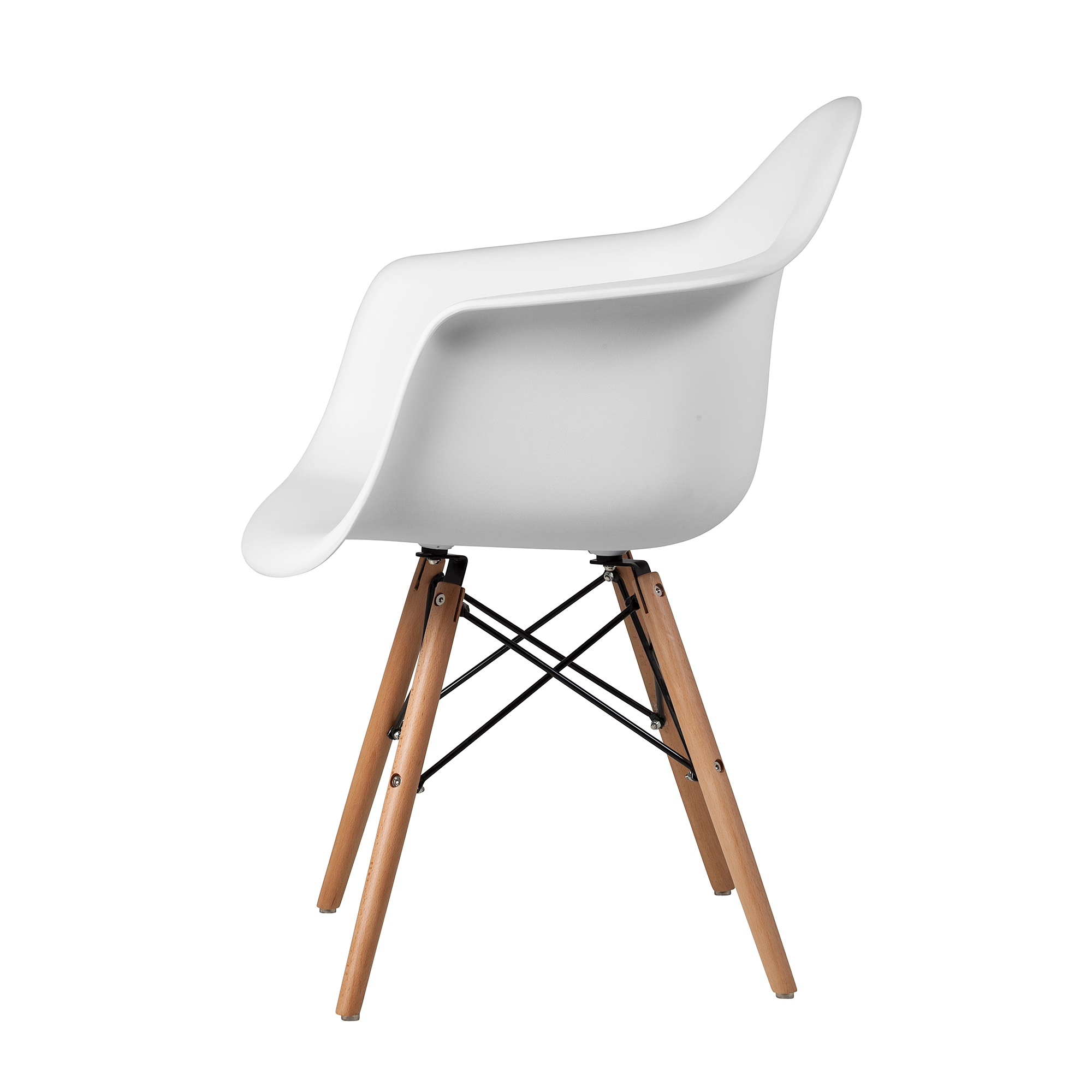 Charles Eames Style DAW Arm Chair, White ABS Plastic