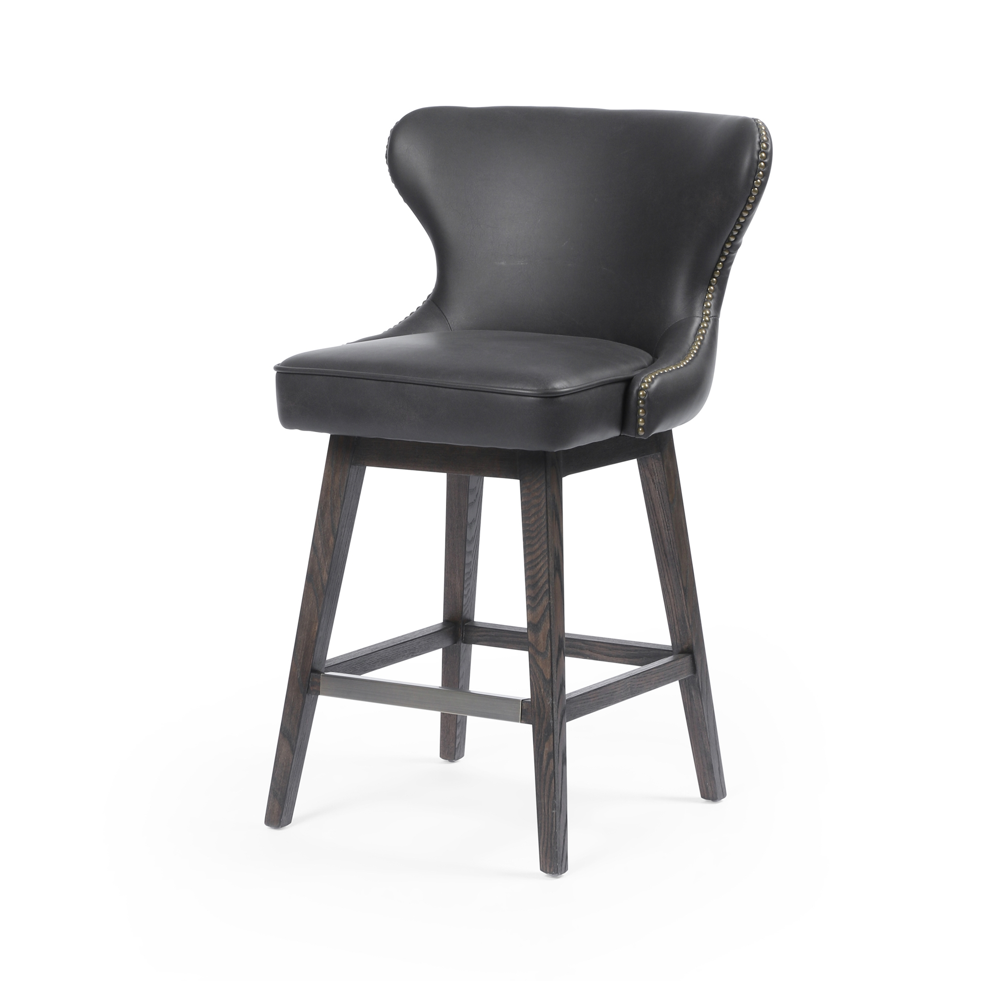 Julie Swivel Counter Stool In Distressed Black