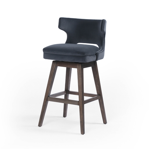 Ashford Task Barstool with Swivel Base Velvet Shadow