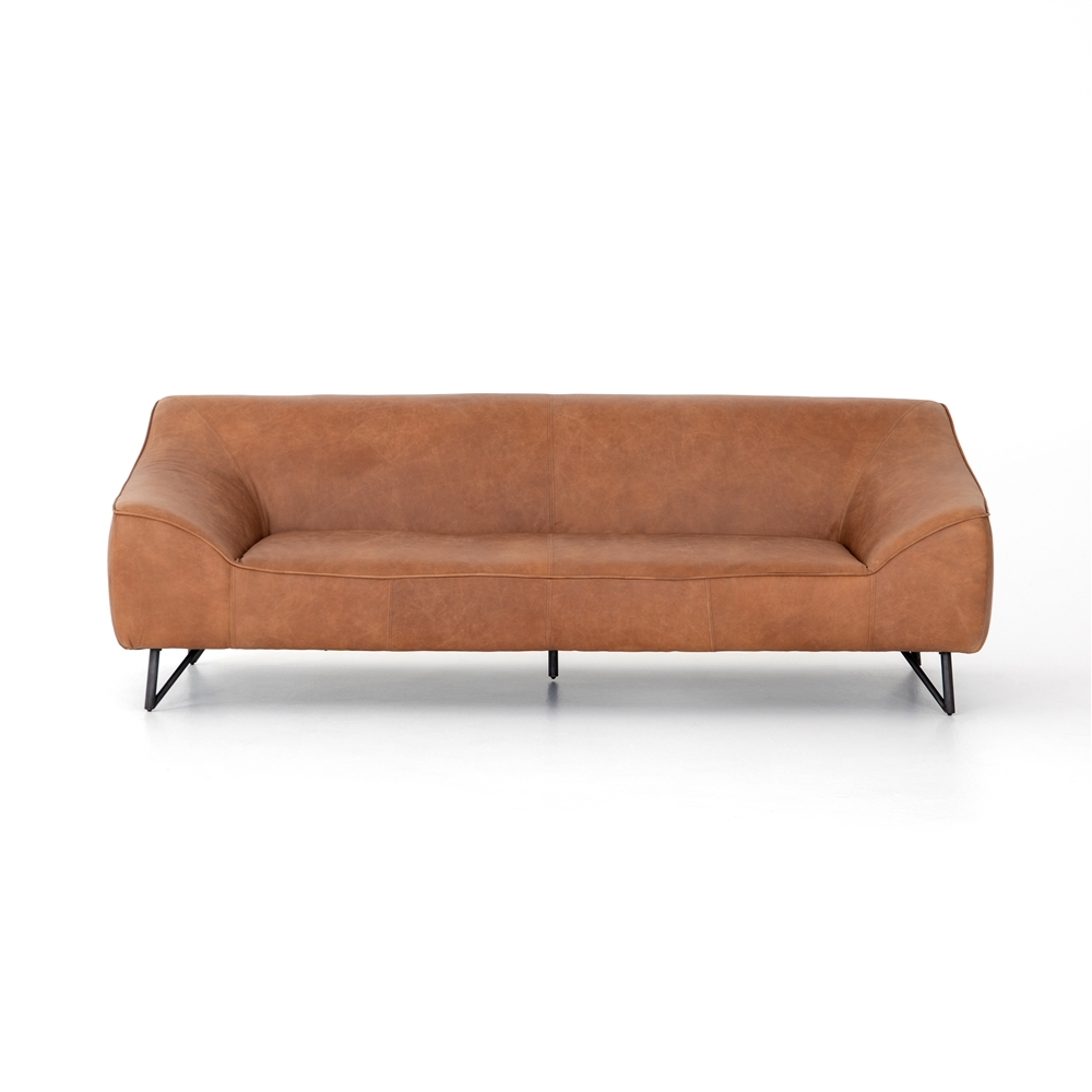 "Thompkins 94"" Top Grain Leather Sofa, Camel"