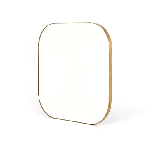 Bellvue Square Mirror In Polished Brass