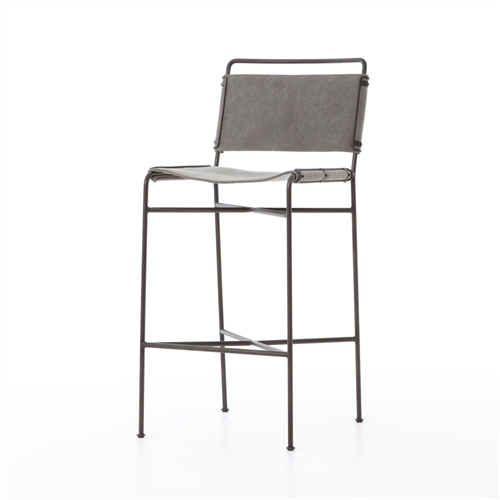 Wharton Barstool in Stonewash Grey Canvas