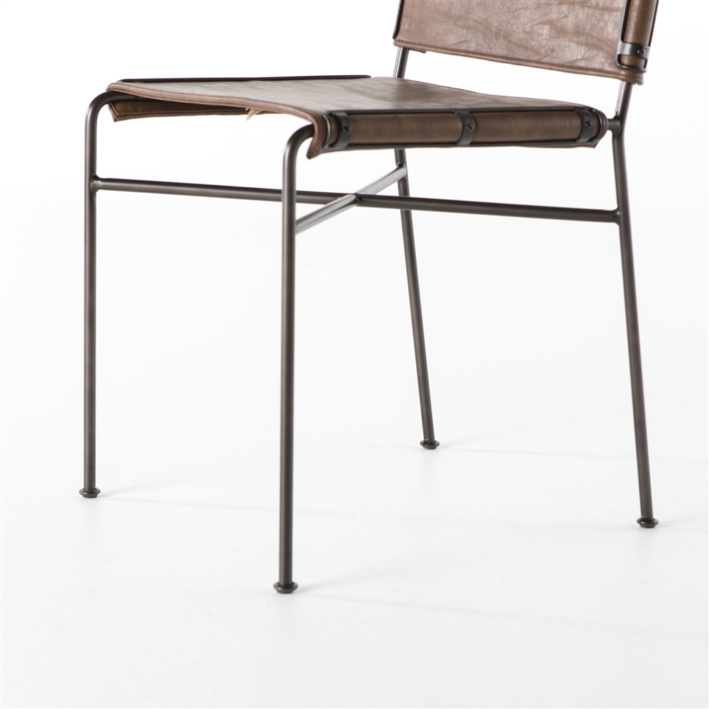 Wharton Dining Chair In Distressed Brown The Khazana Home